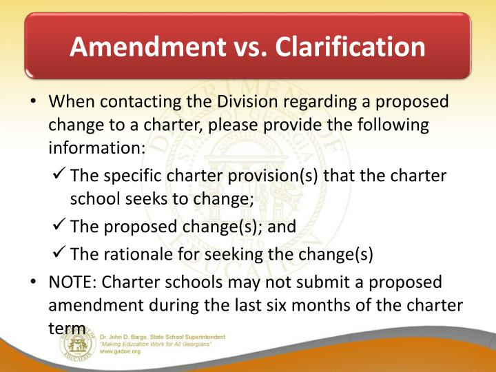 Amendment vs. Clarification