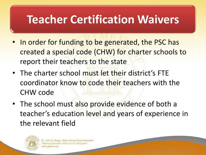 Teacher Certification Waivers