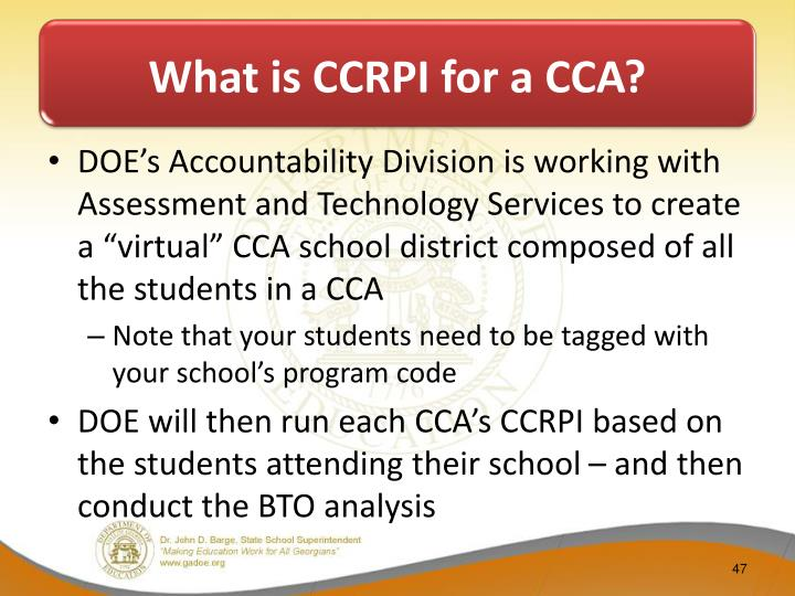 What is CCRPI for a CCA?