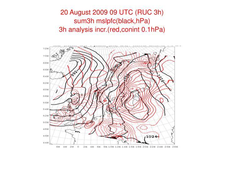 20 August 2009 09 UTC (RUC 3h)