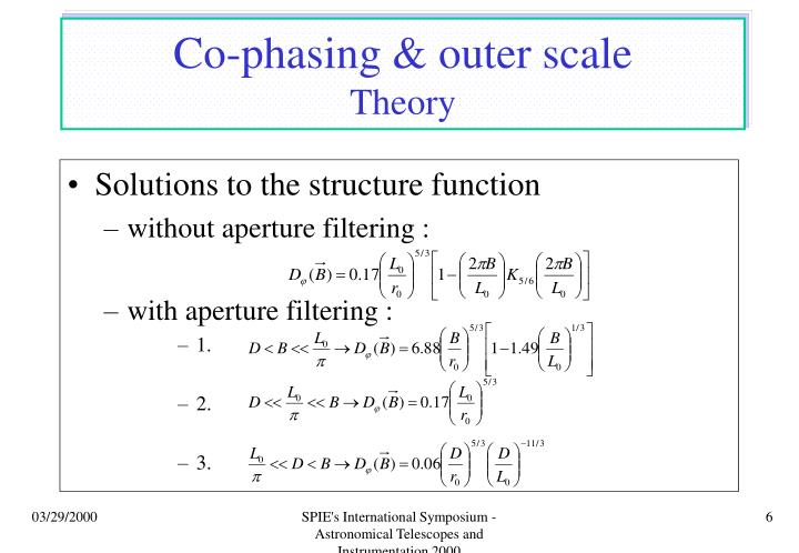 Co-phasing & outer scale