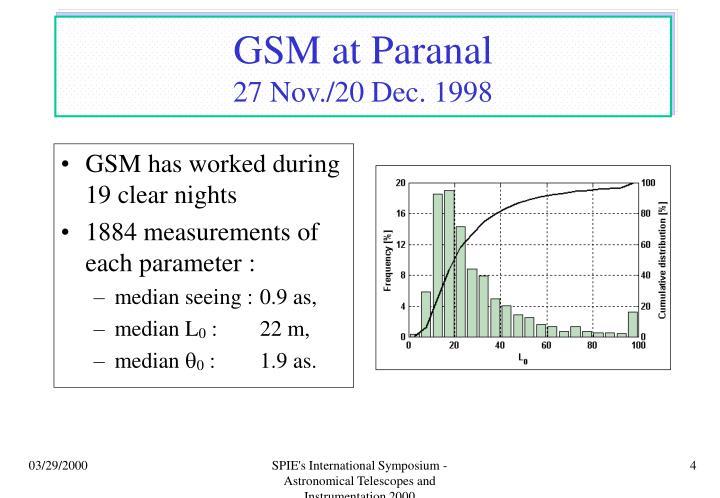 GSM at Paranal