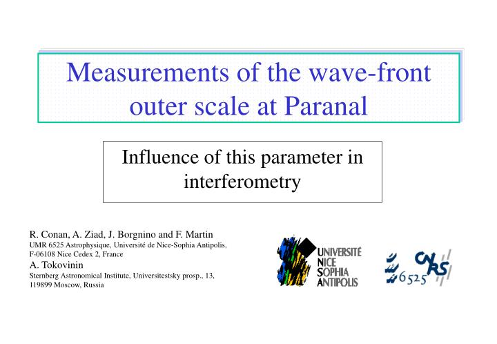measurements of the wave front outer scale at paranal