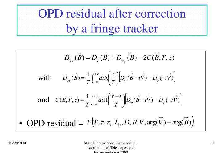 OPD residual after correction