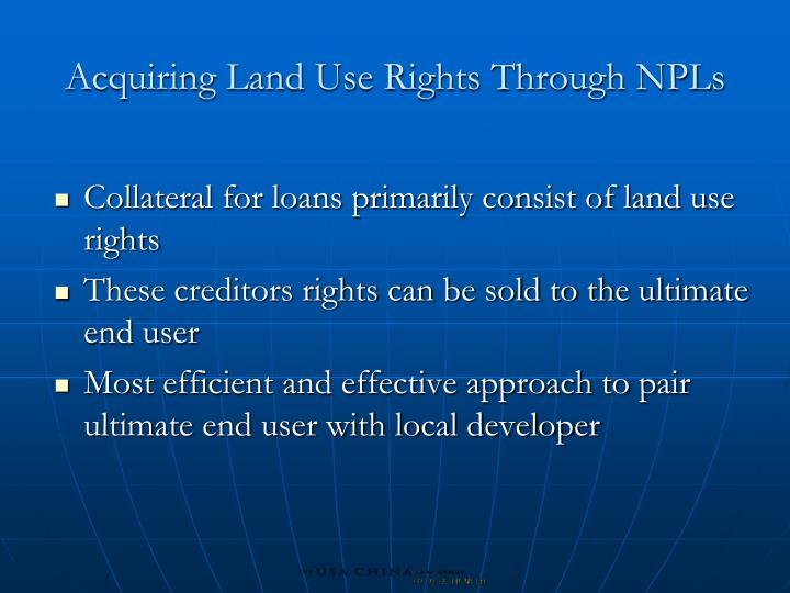 Acquiring Land Use Rights Through NPLs