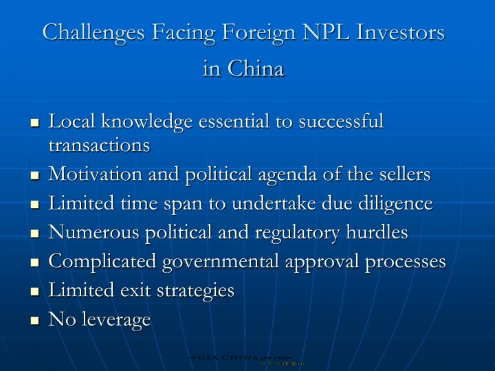 Challenges Facing Foreign NPL Investors