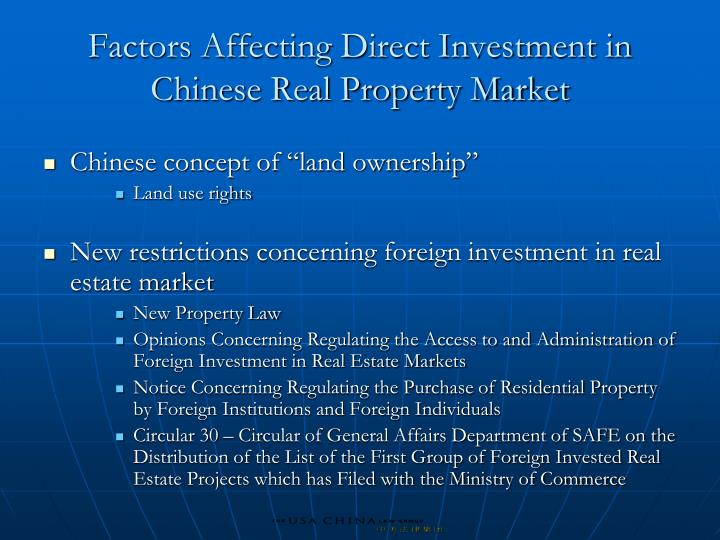 Factors Affecting Direct Investment in Chinese Real Property Market