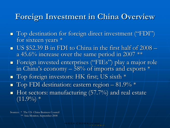 Foreign Investment in China Overview