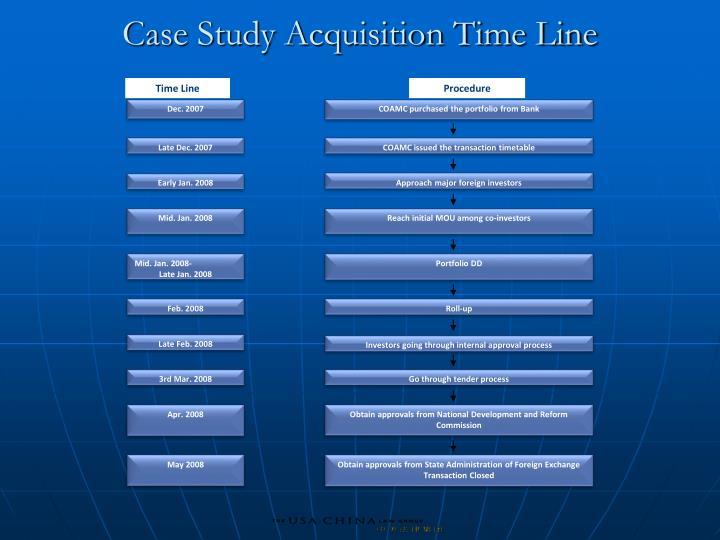 Case Study Acquisition Time Line