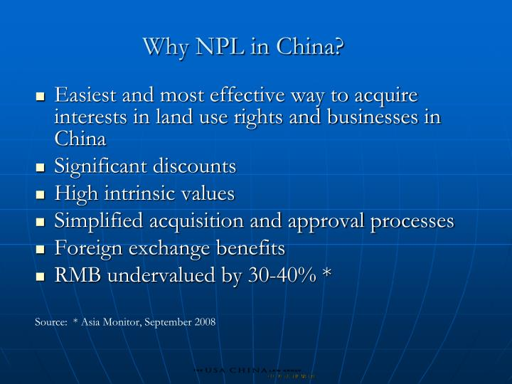 Why NPL in China?