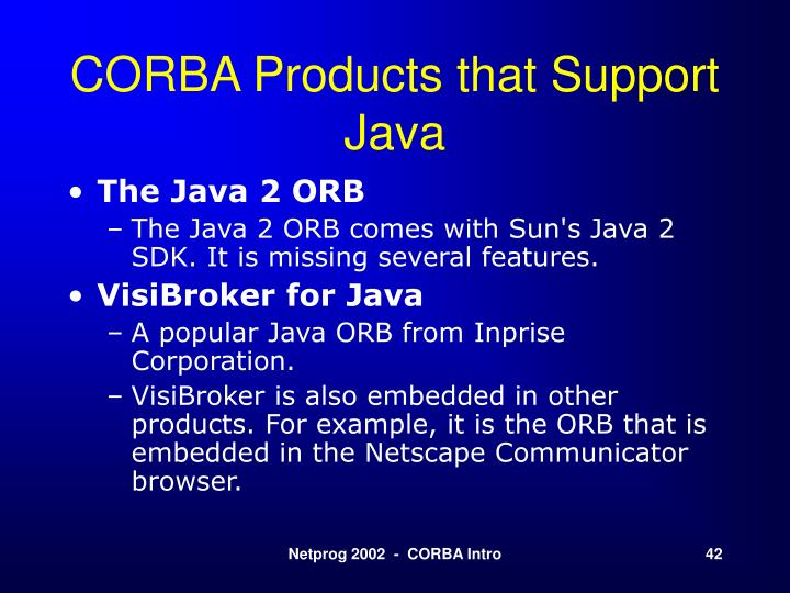 CORBA Products that Support Java