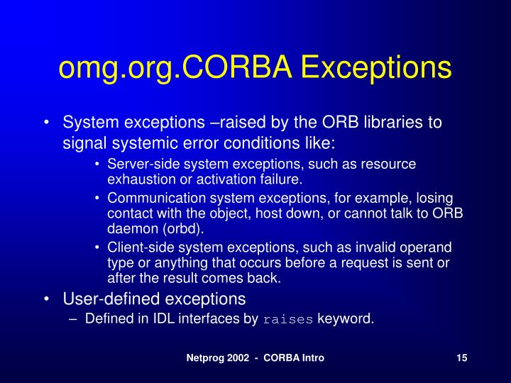 omg.org.CORBA Exceptions