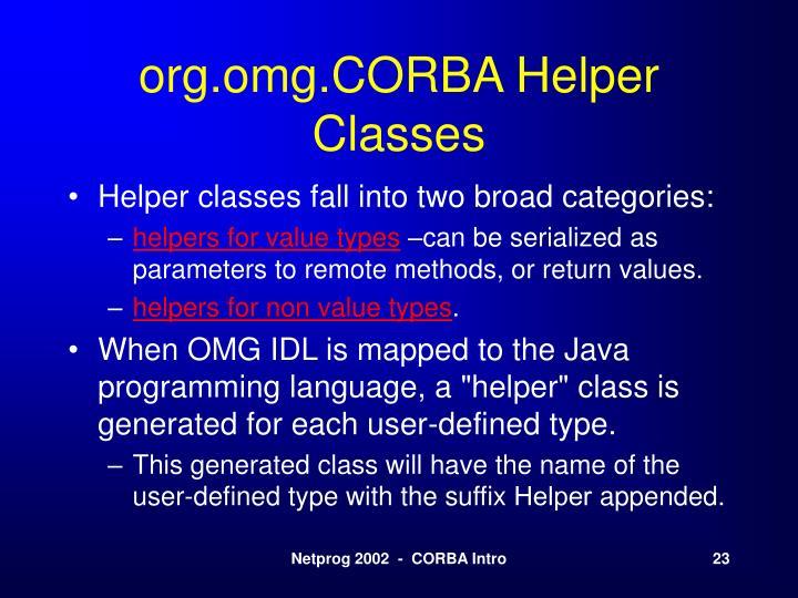 org.omg.CORBA Helper Classes