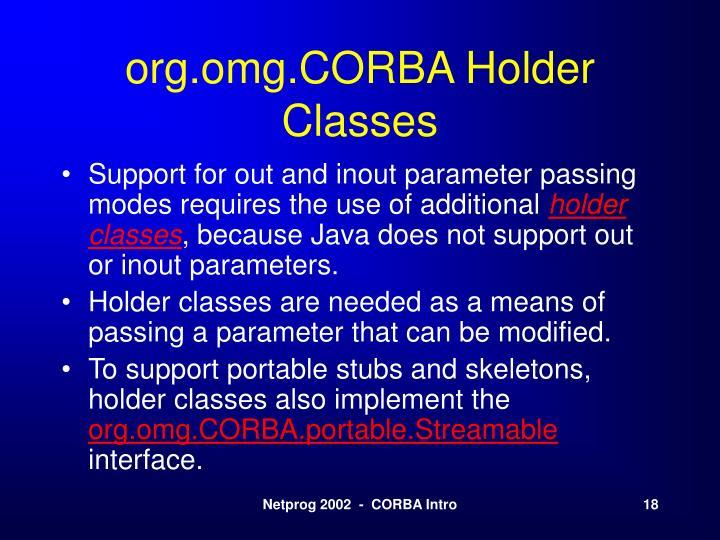org.omg.CORBA Holder Classes