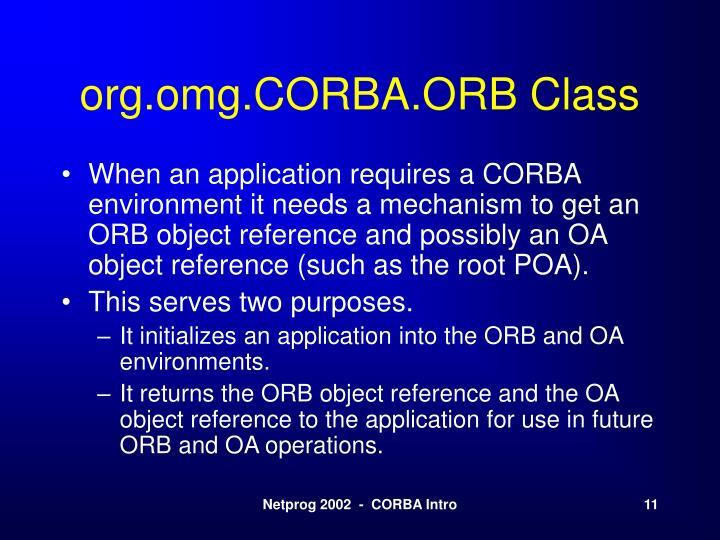 org.omg.CORBA.ORB Class