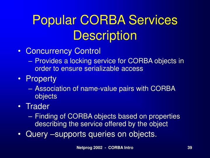 Popular CORBA Services Description