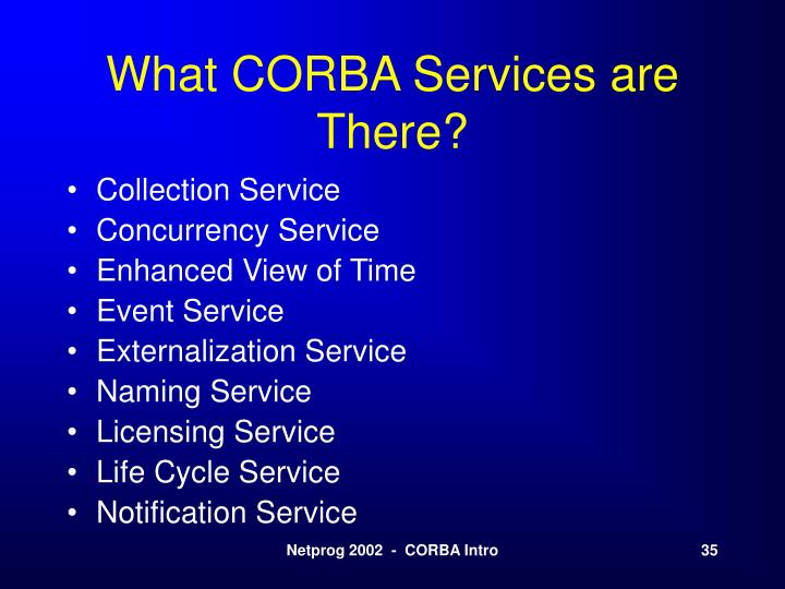 What CORBA Services are There?