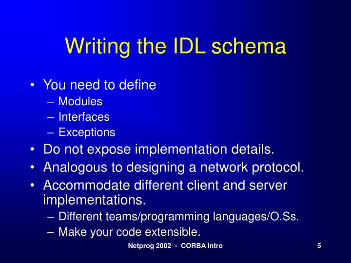 Writing the IDL schema