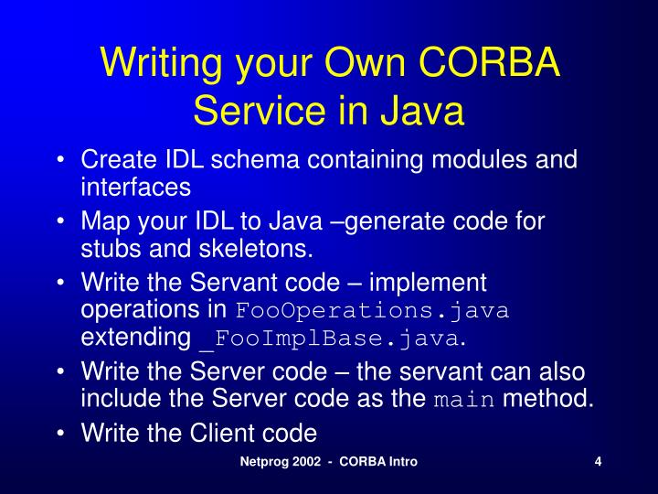 Writing your Own CORBA Service in Java