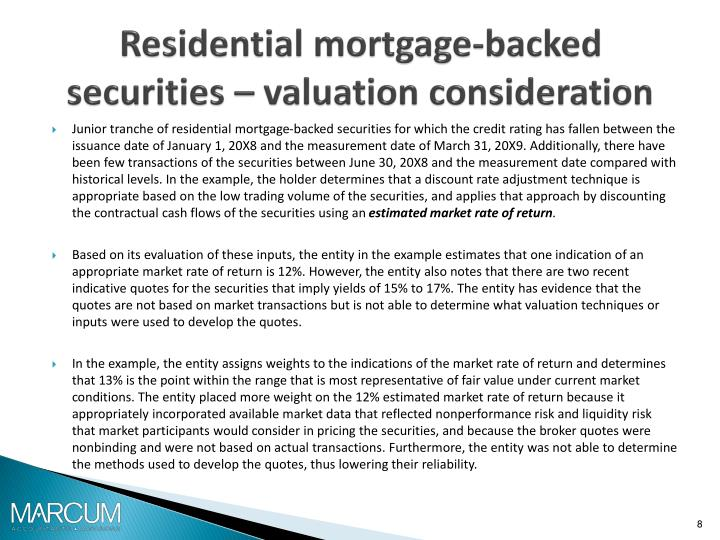 Residential mortgage-backed securities – valuation consideration