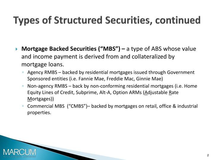Types of structured securities continued