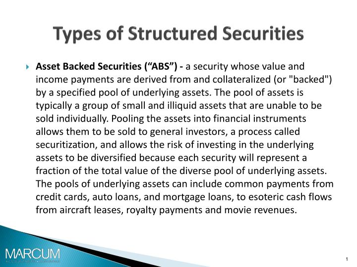 Types of structured securities