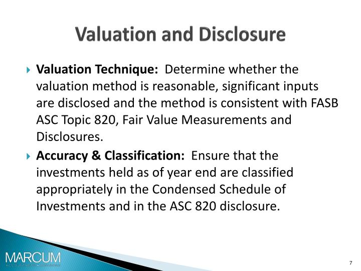 Valuation and Disclosure