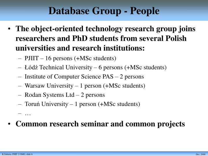 Database Group - People