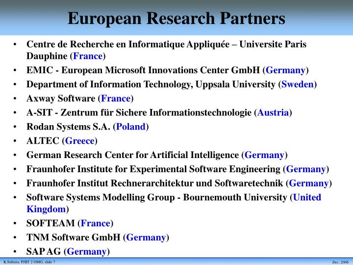 European Research Partners