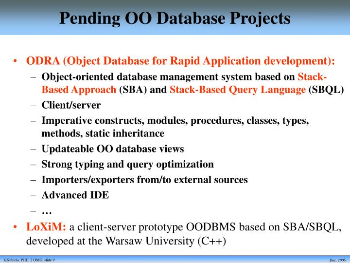 Pending OO Database Projects