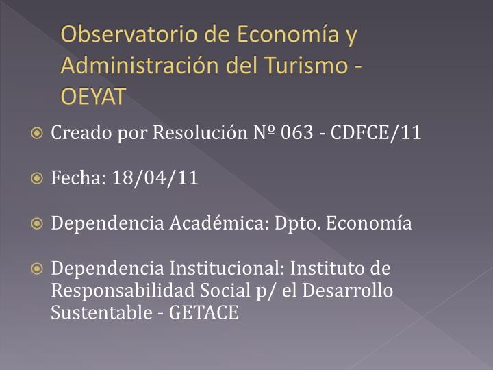 Observatorio de Economía y Administración del Turismo -