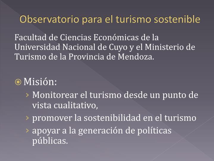 Observatorio para el turismo sostenible