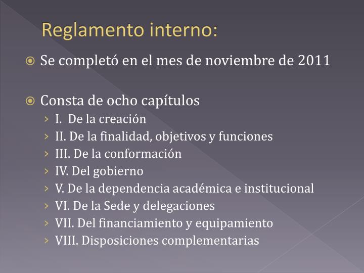 Reglamento interno:
