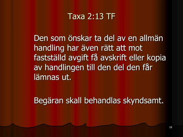 Taxa 2:13 TF