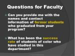 questions for faculty
