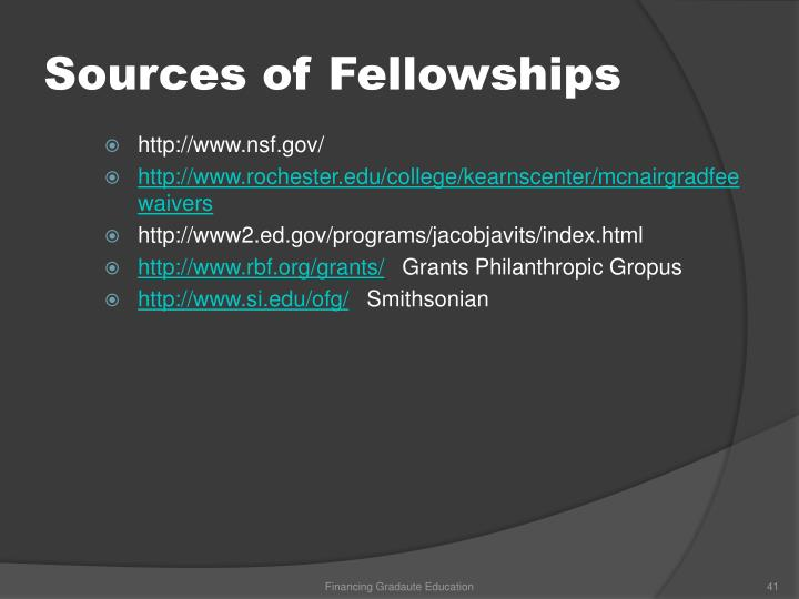 Sources of Fellowships