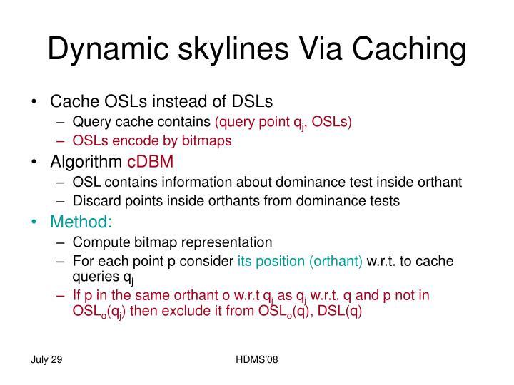 Dynamic skylines Via Caching