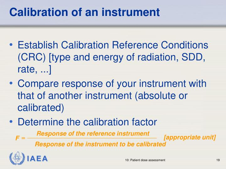 Calibration of an instrument