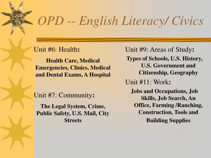 OPD -- English Literacy/ Civics