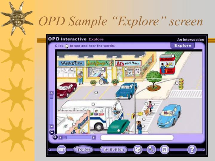 "OPD Sample ""Explore"" screen"