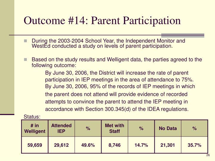 Outcome #14: Parent Participation