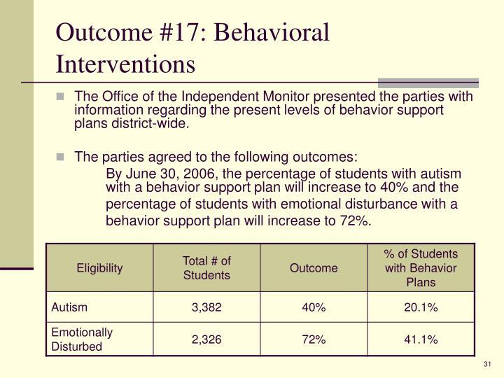Outcome #17: Behavioral Interventions