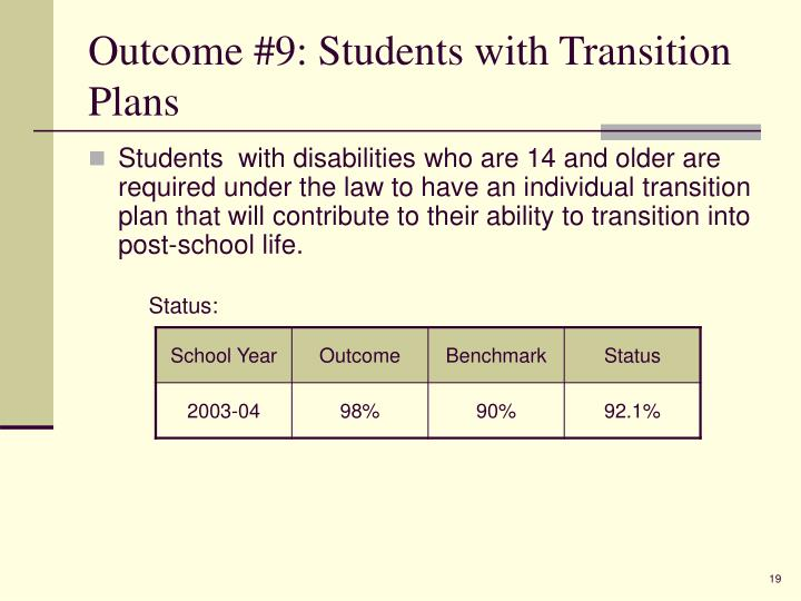 Outcome #9: Students with Transition Plans