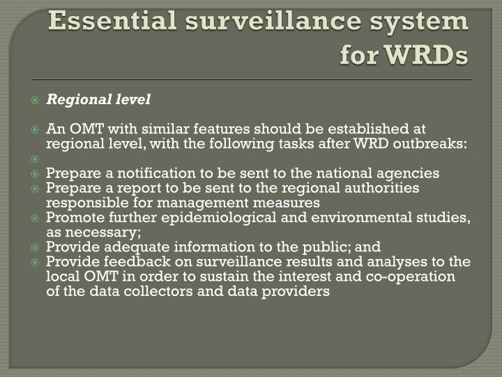 Essential surveillance system for WRDs