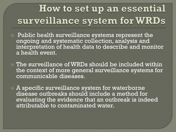 How to set up an essential surveillance system for WRDs