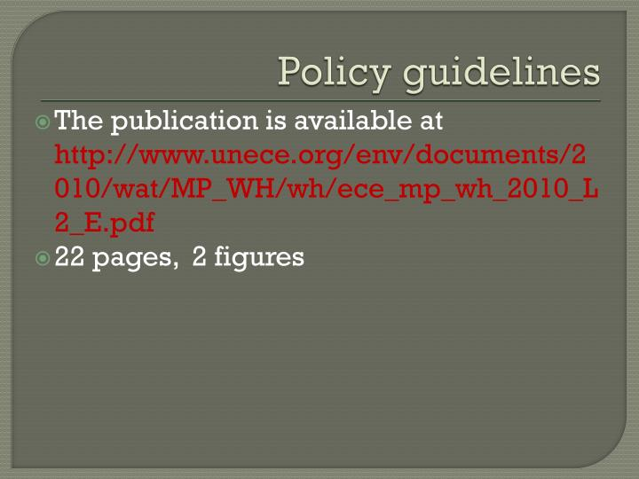 Policy guidelines