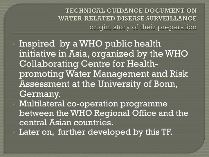 Technical guidance document on water related disease surveillance origin story of their preparation