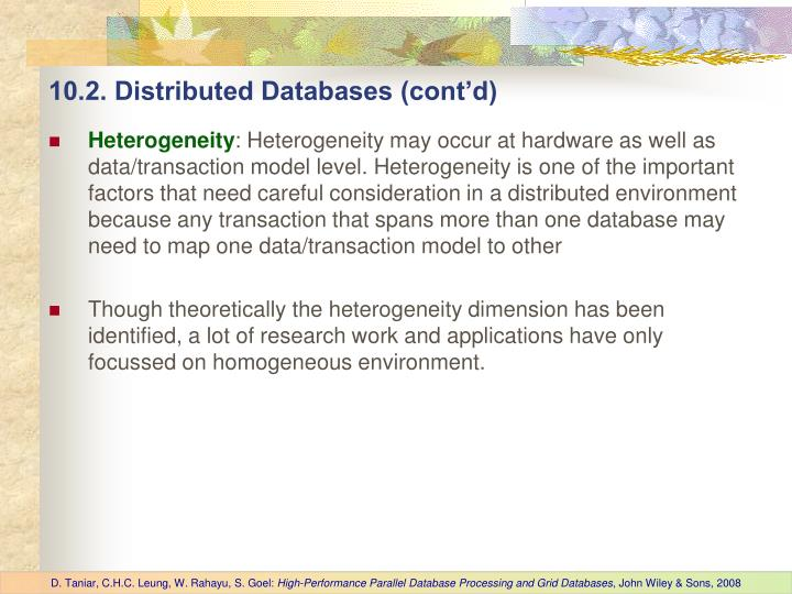 10.2. Distributed Databases (cont'd)