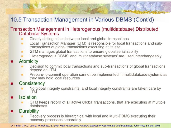 10.5 Transaction Management in Various DBMS (Cont'd)