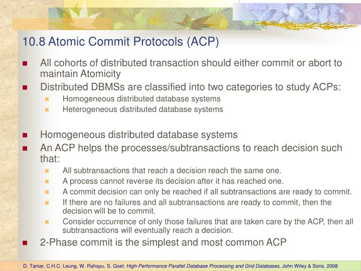 10.8 Atomic Commit Protocols (ACP)